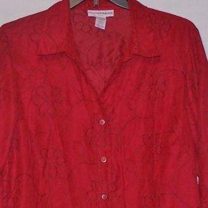 Sag Harbor Embroidered Peach Skin Shirt 2X Red 641